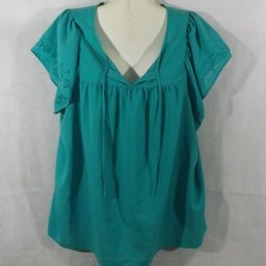 Womens ST. JOHN'S BAY Blouse - Teal - Sz 3X